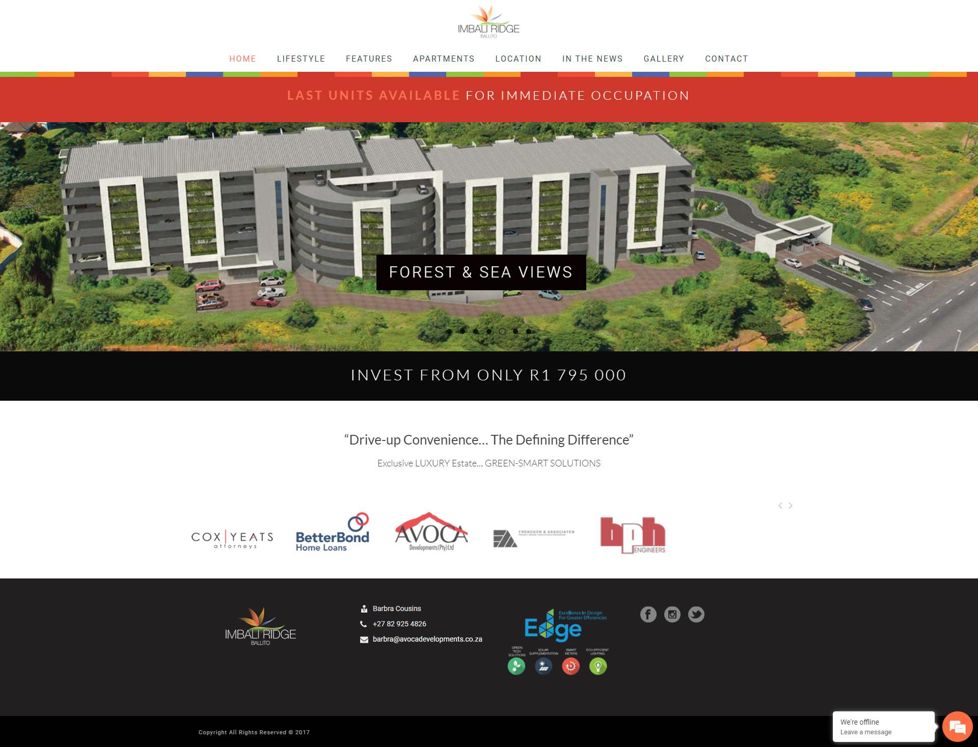 Imbali Ridge Homepage Design